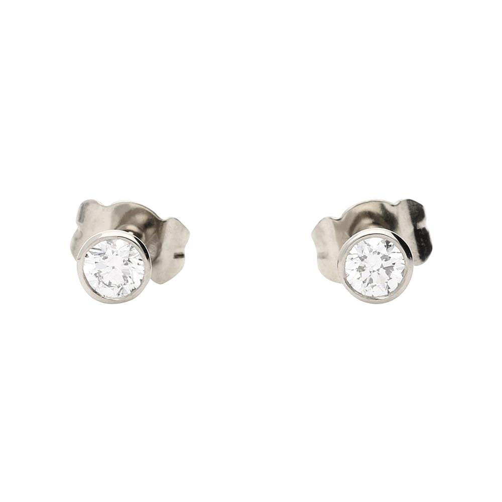 Rock Lobster Earrings 18ct white gold 0.36ct diamond stud earrings in rubover setting