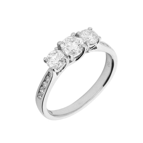 Rock Lobster Ring 18ct white gold 0.95ct diamond trilogy ring with diamond set shoulders