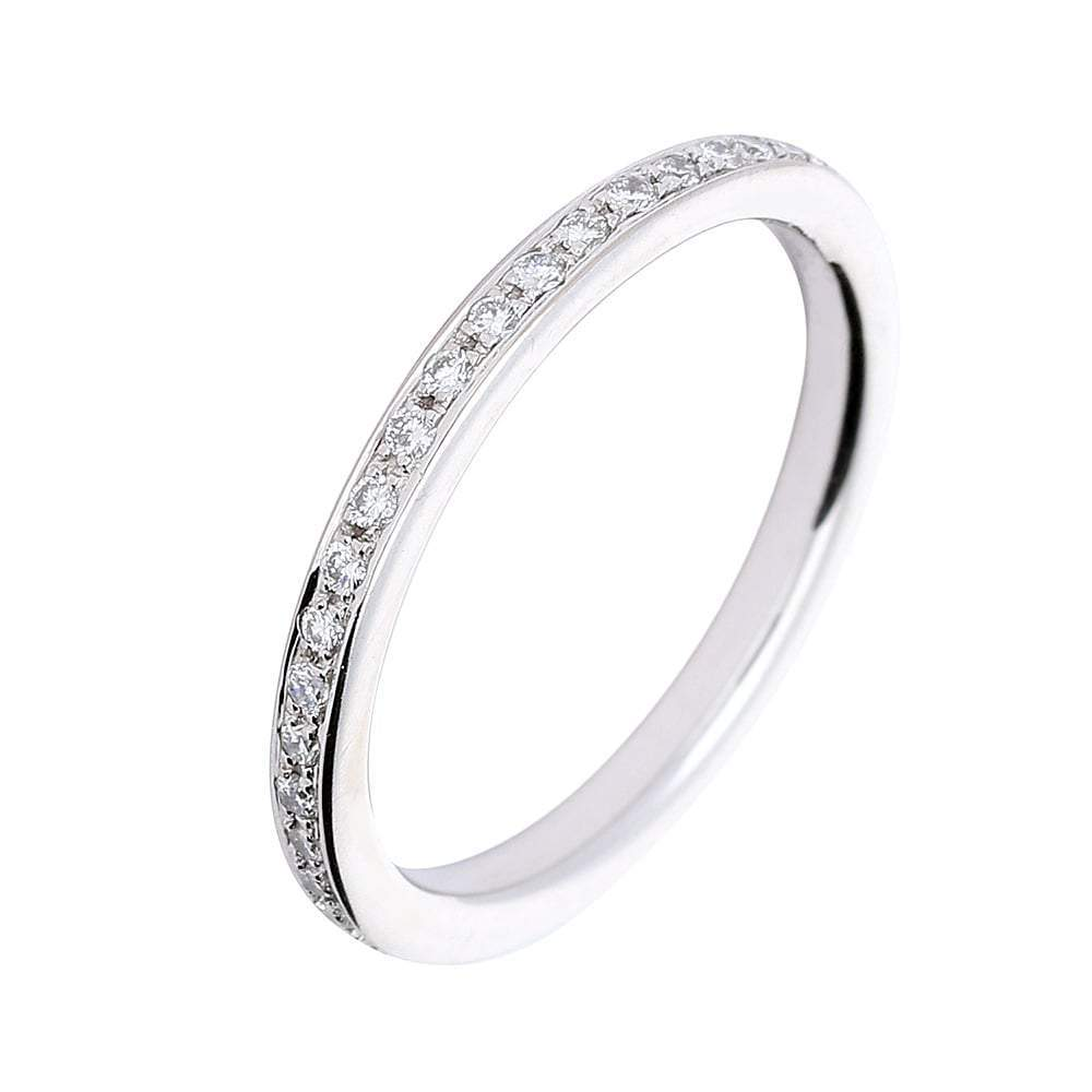 Rock Lobster Ring 18ct white gold and diamond grain set eternity ring