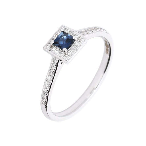 Rock Lobster Ring 18ct White gold Blue Sapphire and Diamond ring