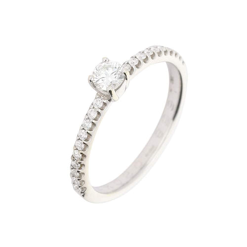 Rock Lobster Ring 18ct white gold brilliant cut diamond ring with diamond set shoulders