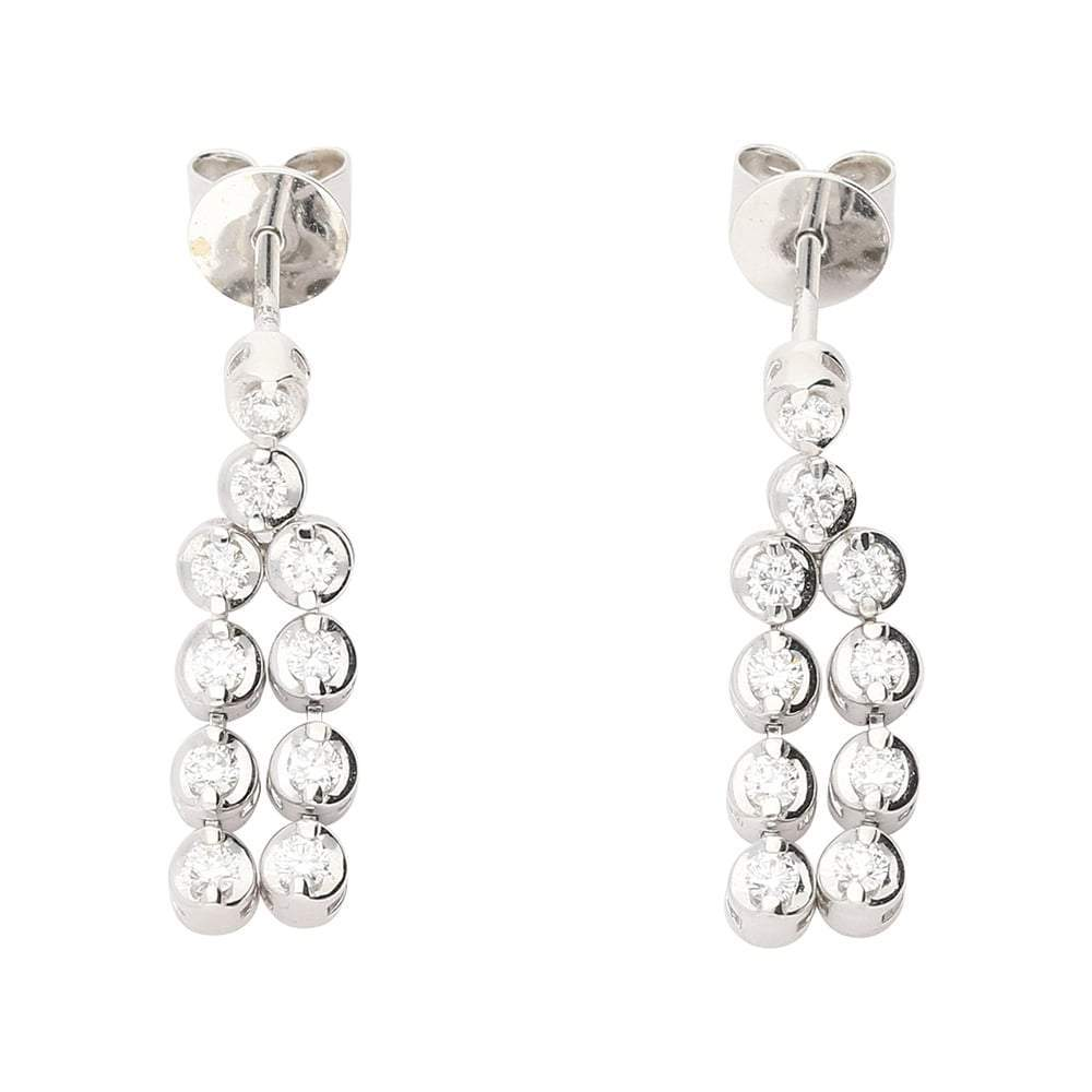 Rock Lobster Earrings 18ct white gold diamond chandelier style earrings with double row drops