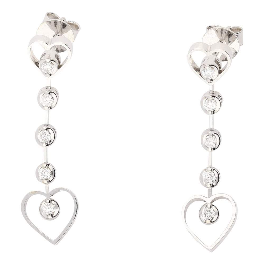 Rock Lobster Earrings 18ct white gold diamond heart drop earrings
