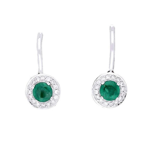 Rock Lobster Earrings 18ct white gold emerald and diamond halo earrings
