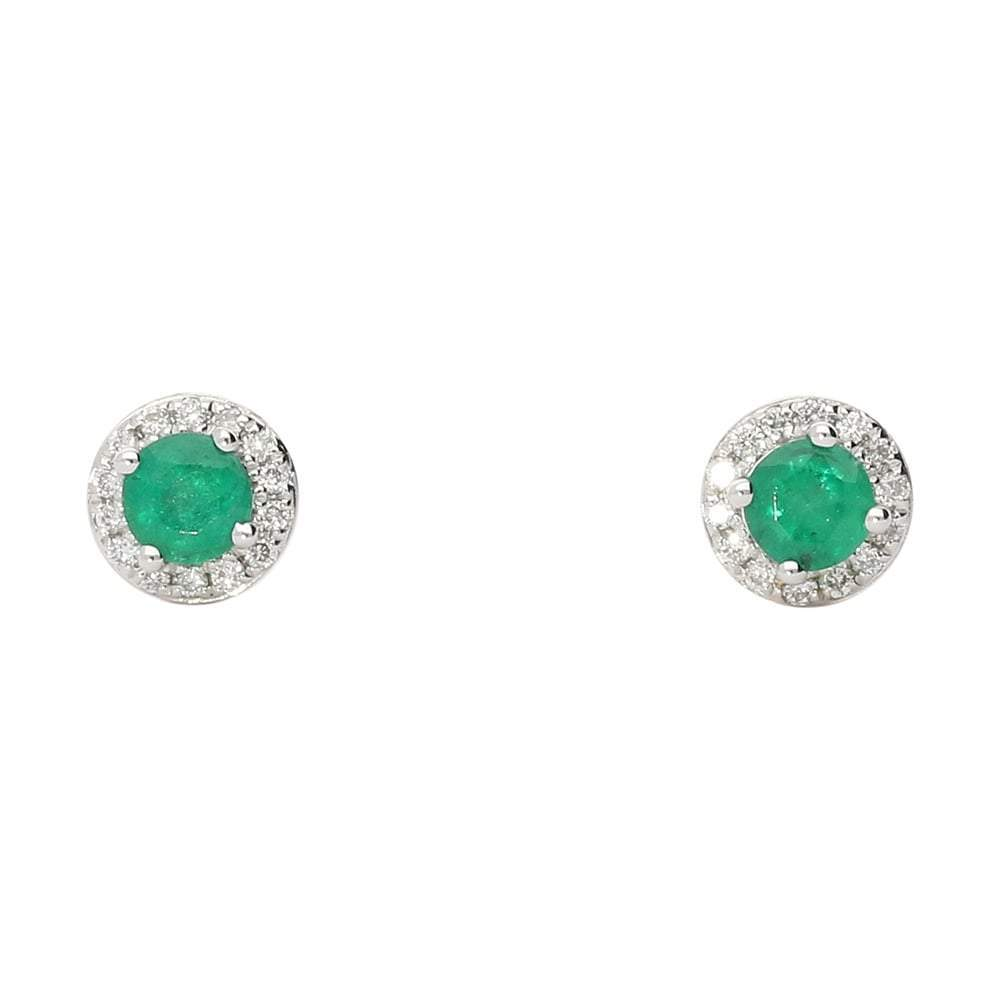 Rock Lobster Earrings 18ct white gold emerald and diamond halo stud earrings