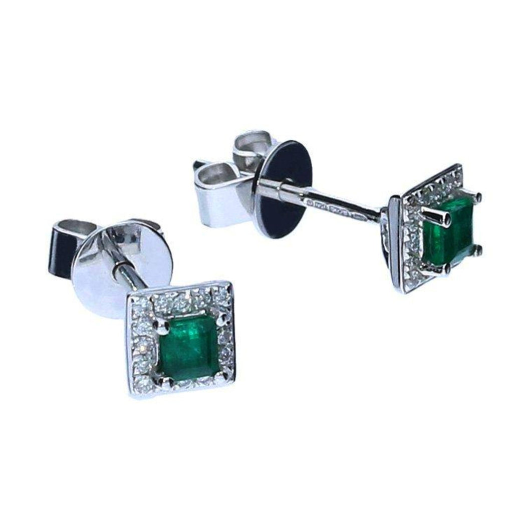 Rock Lobster Earrings 18ct White Gold Emerald and Diamond set earrings