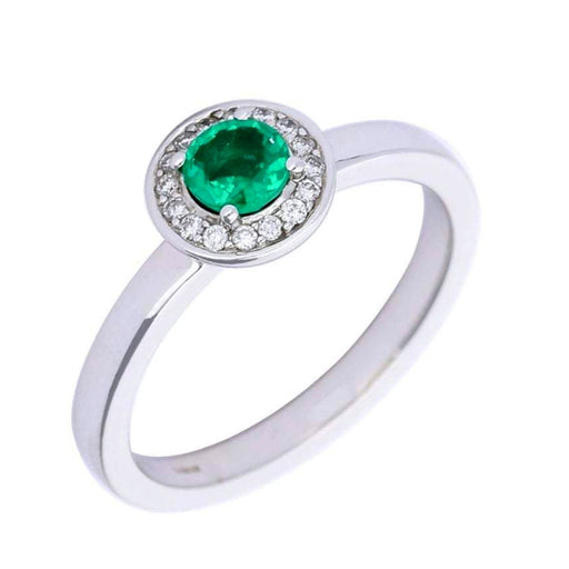 Rock Lobster Ring 18ct white gold emerald diamond cluster ring