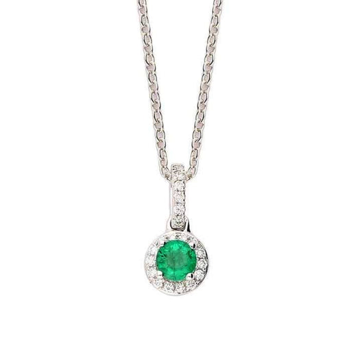 Rock Lobster Pendant 18ct white gold emerald pendant with diamond halo