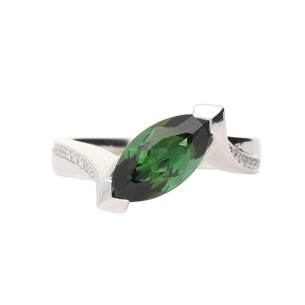 Rock Lobster Ring 18ct white gold green tourmaline and diamond ring