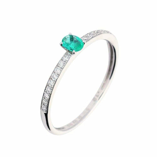 Rock Lobster Ring 18ct white gold oval emerald and diamond ring