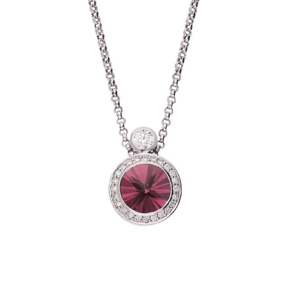 Rock Lobster Pendant 18ct white gold pendant set a pink tourmaline and diamond halo