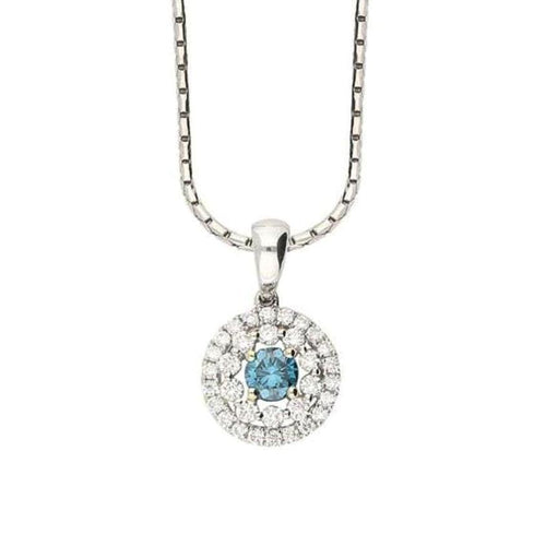 Rock Lobster Pendant 18ct white gold pendant set with a blue diamond with a diamond halo surround