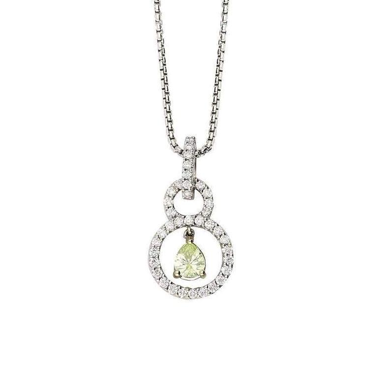 Rock Lobster Pendant 18ct white gold pendant set with a natural lime teardrop diamond