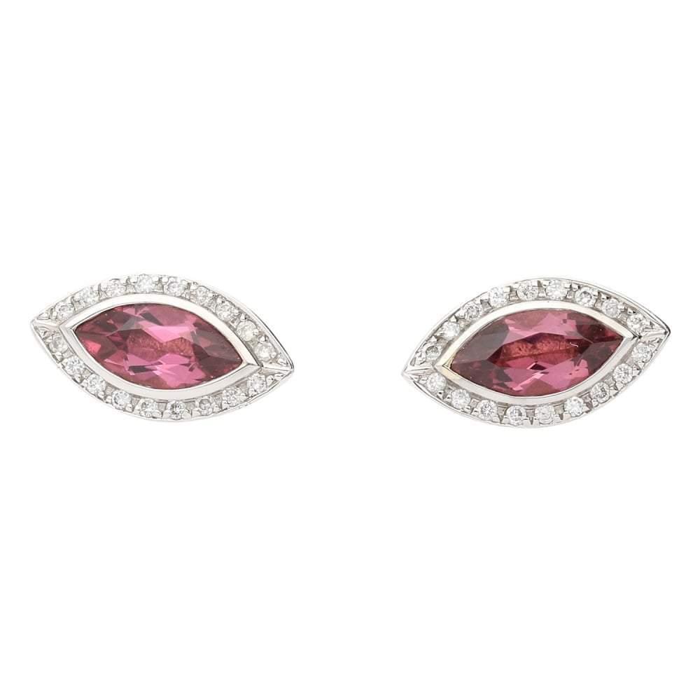 Rock Lobster Earrings 18ct white gold pink tourmaline diamond marquise earrings