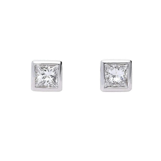 Rock Lobster Earrings 18ct white gold princess cut diamond earrings with rubover setting