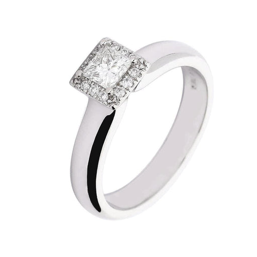 Rock Lobster Ring 18ct white gold princess cut diamond halo ring