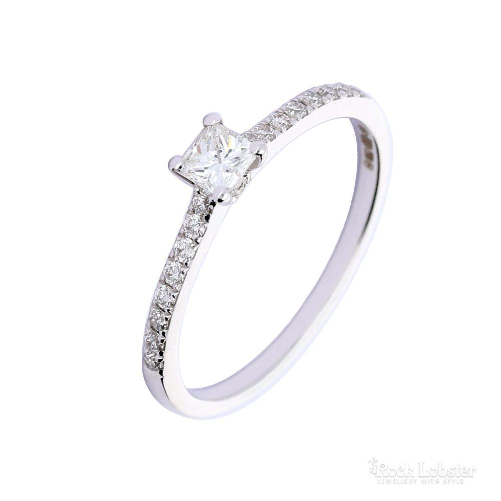 Rock Lobster Ring 18ct white gold princess cut diamond ring with set shoulders