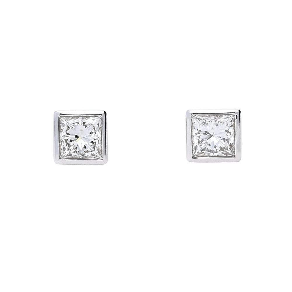 Rock Lobster Earrings 18ct white gold princess cut diamond stud earrings