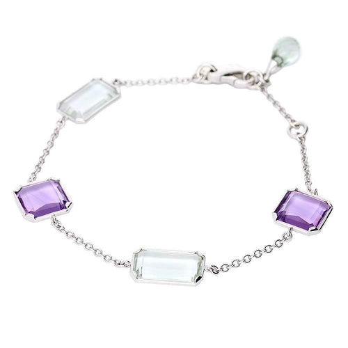 Rock Lobster Bracelet 18ct white gold purple and green amethyst bracelet