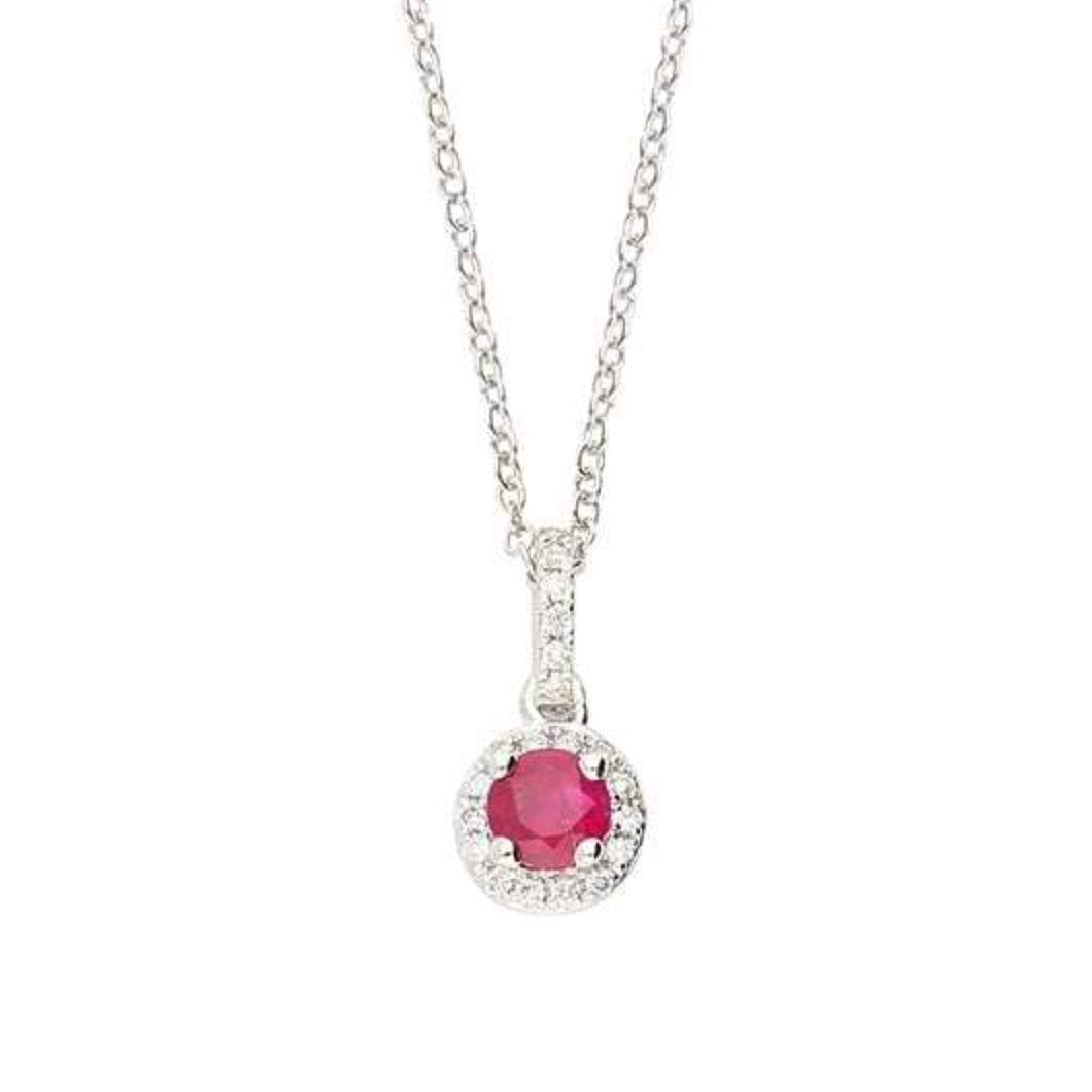 Rock Lobster Pendant 18ct white gold ruby and diamond halo pendant