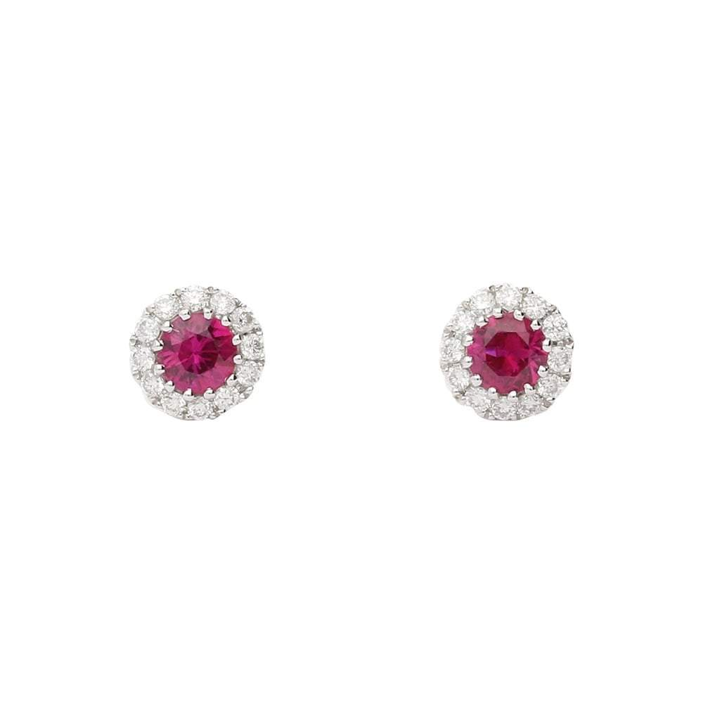 Rock Lobster Earrings 18ct white gold ruby and diamond halo stud earrings