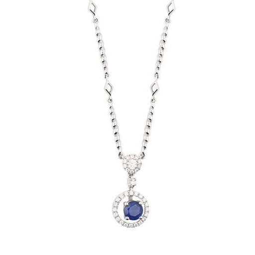 Rock Lobster Necklace 18ct white gold sapphire and diamond halo drop necklace