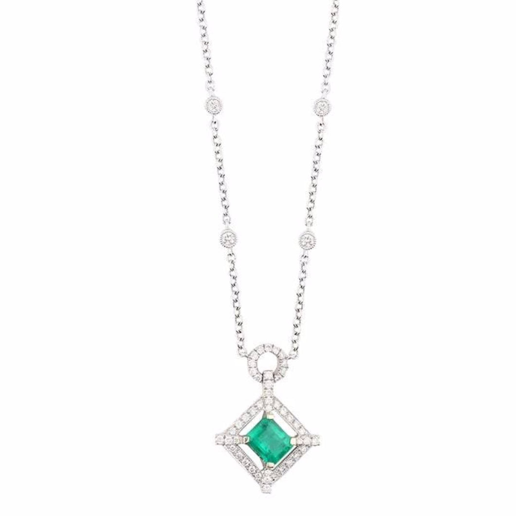 Rock Lobster Pendant 18ct white gold square cut emerald and diamond halo necklace