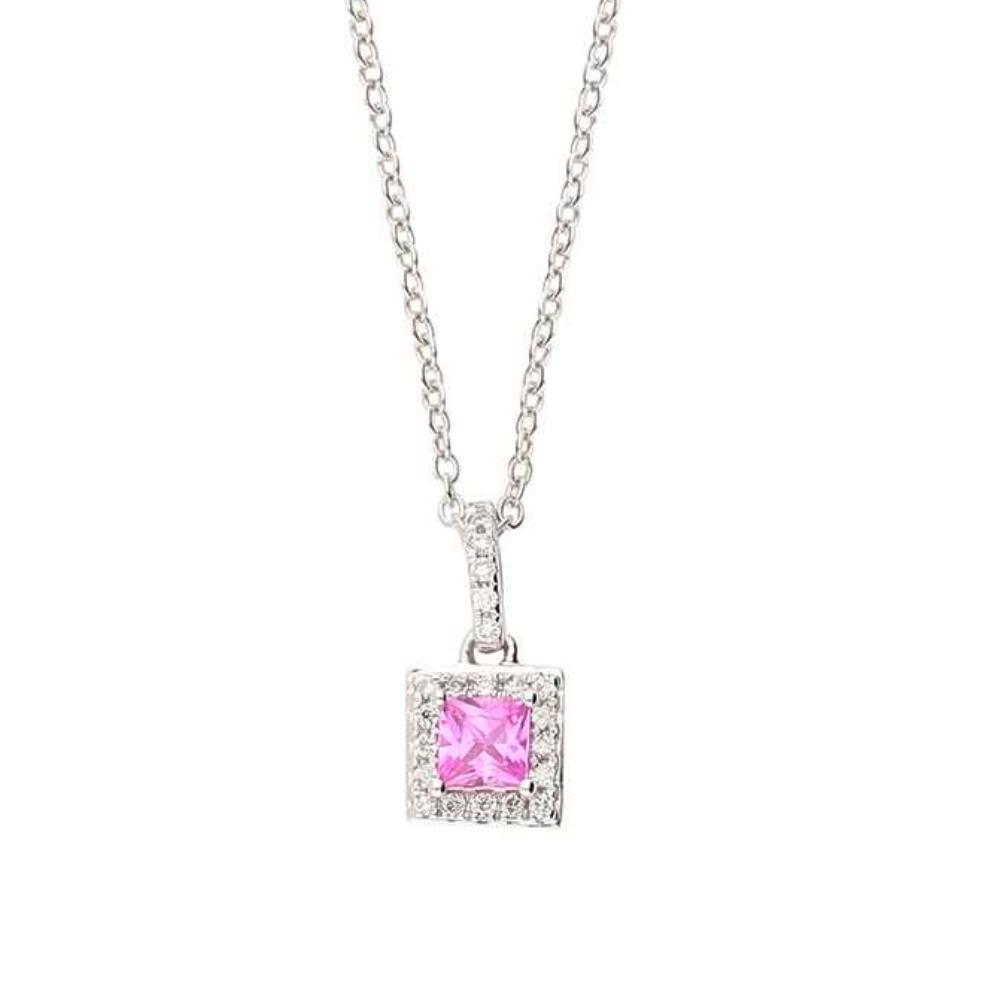 Rock Lobster Pendant 18ct white gold square cut pink sapphire and diamond pendant