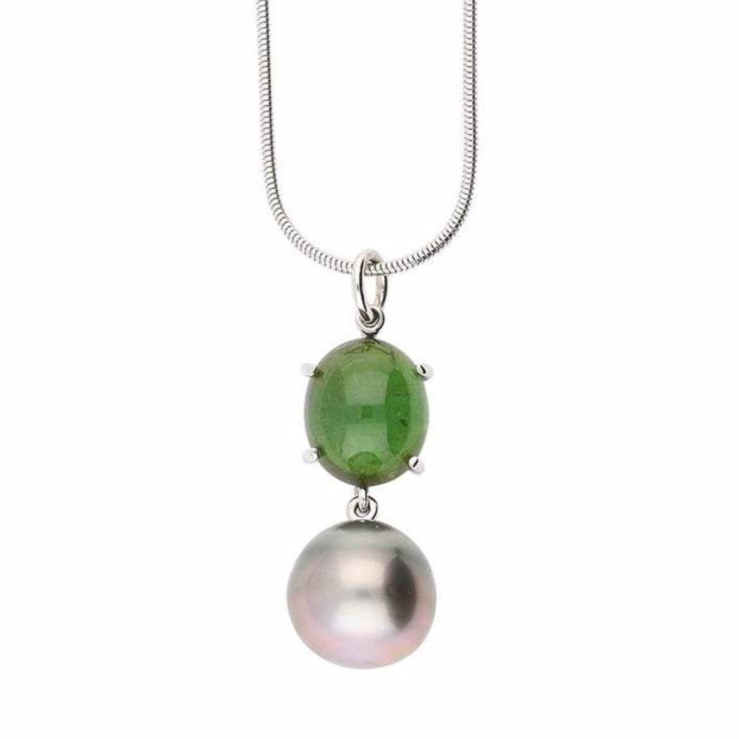 Rock Lobster Neckwear 18ct white gold tahitian pearl pendant set with a dark green tourmaline