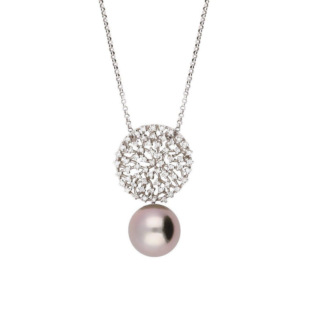 Rock Lobster Neckwear 18ct white gold tahitian pearl pendant with scattered diamond disk