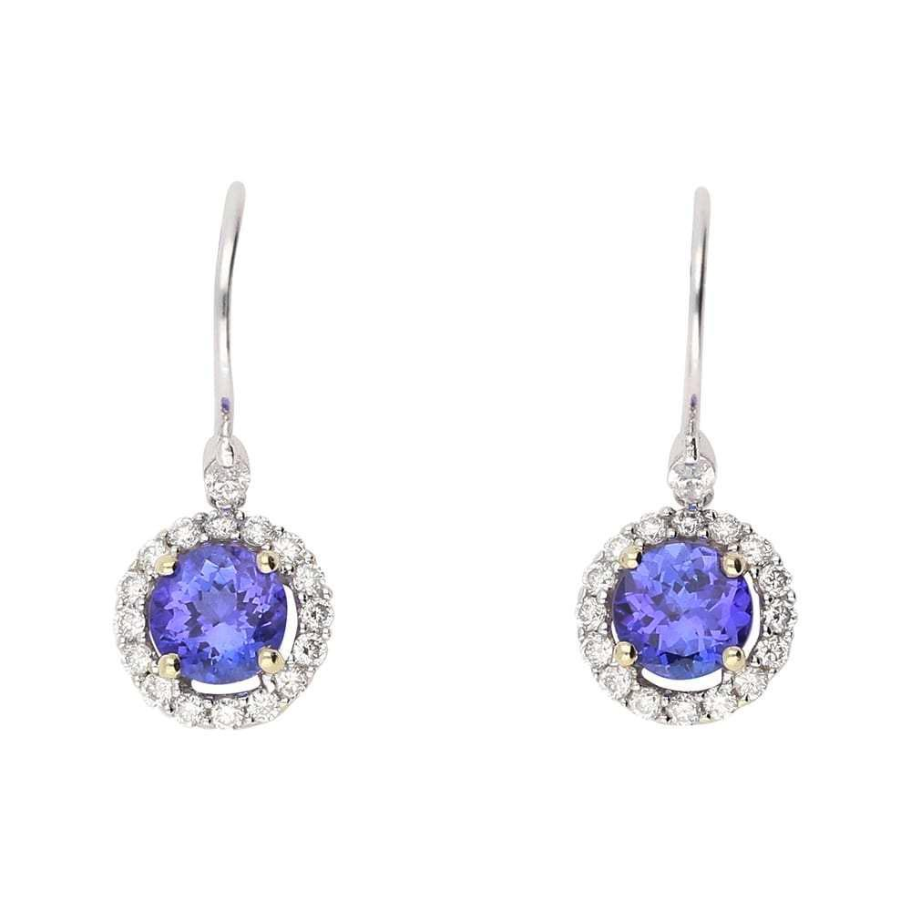 Rock Lobster Earrings 18ct white gold tanzanite and diamond halo hook drop earrings
