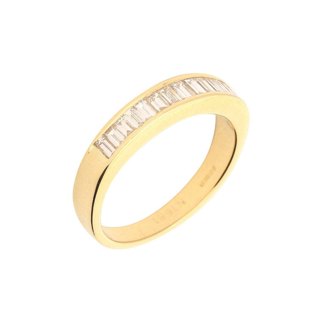 Rock Lobster Ring 18ct yellow gold baguette cut diamond half eternity ring