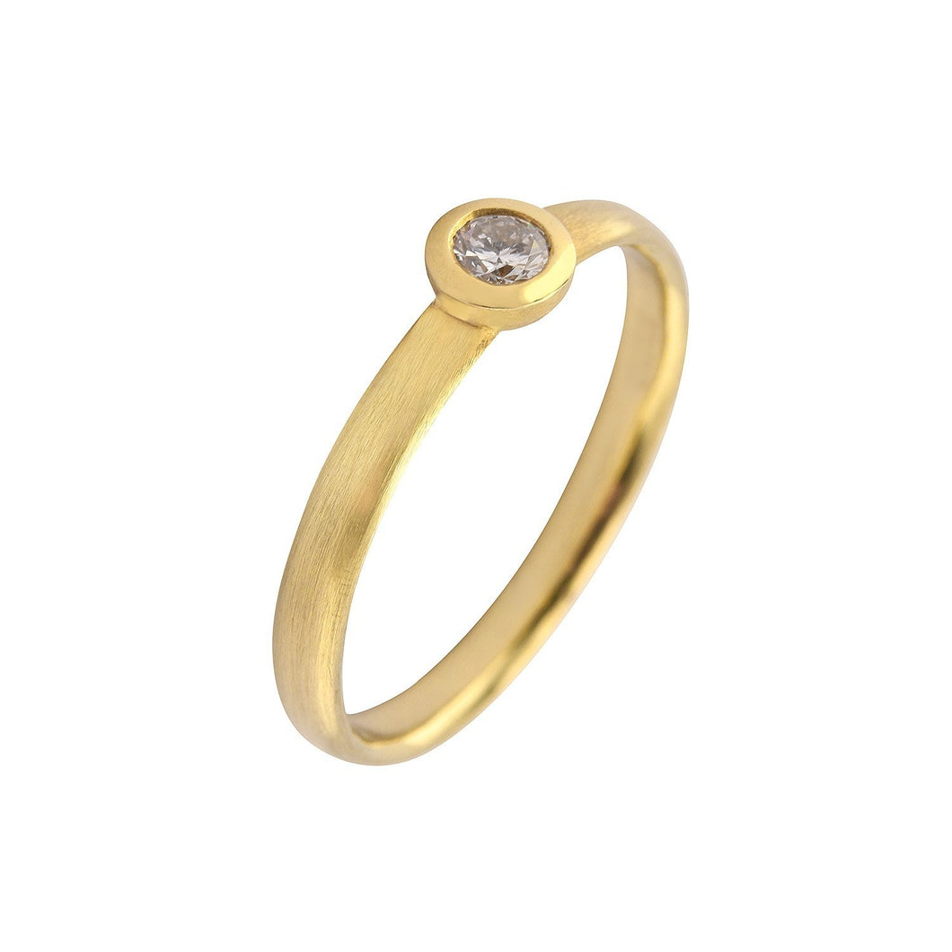 Rock Lobster Ring 18ct yellow gold brilliant cut 0.10ct diamond court ring