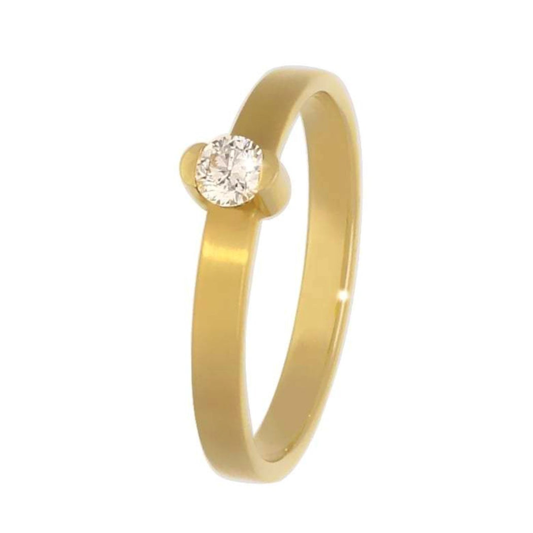 Rock Lobster Ring 18ct yellow gold brilliant cut diamond ring with matt finish