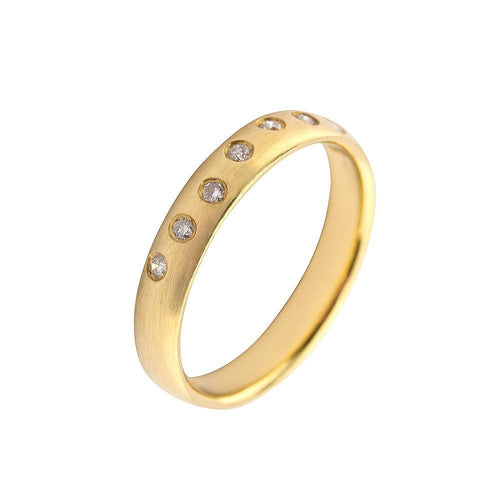 Rock Lobster Ring 18ct yellow gold eight scattered diamond ring