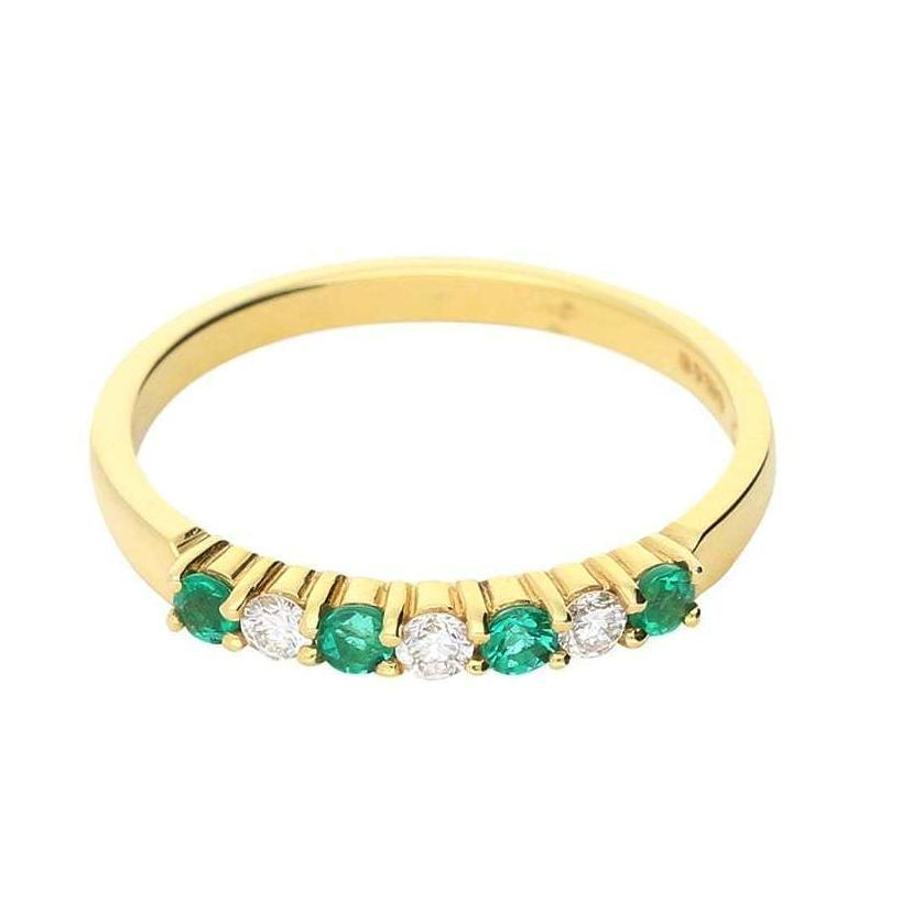 Rock Lobster Ring 18ct yellow gold emerald and diamond 7 stone ring