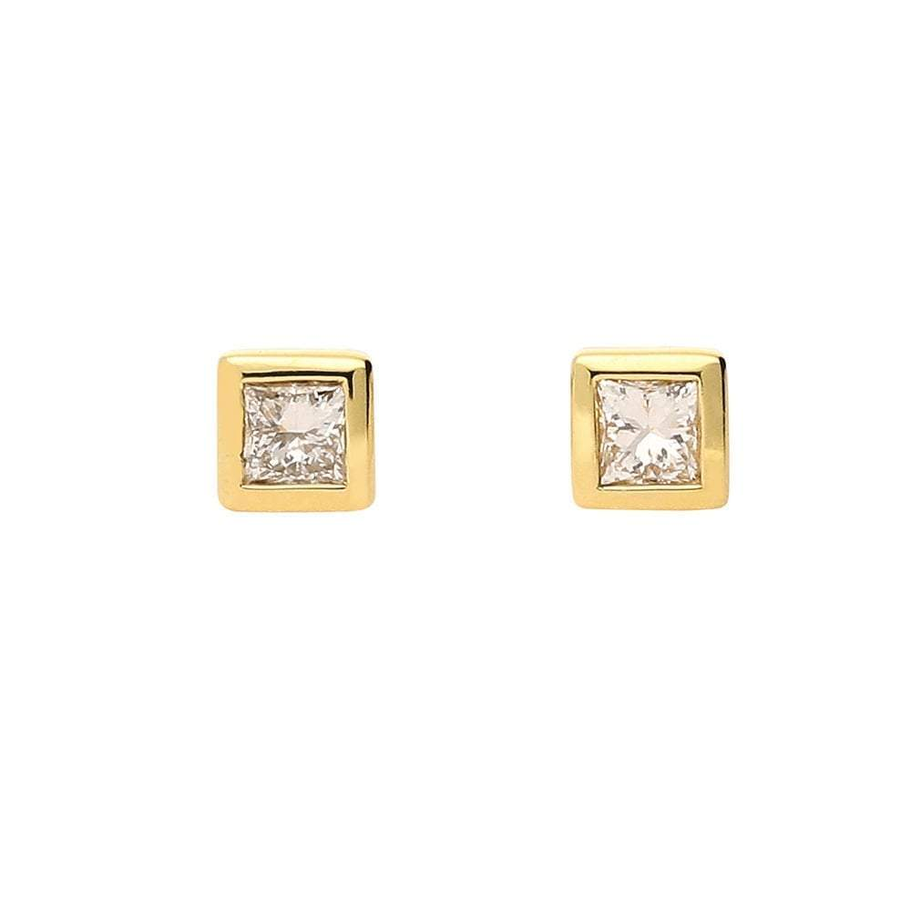 Rock Lobster Earrings 18ct yellow gold princess cut diamond earrings with rubover setting
