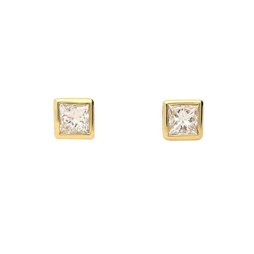 Rock Lobster Earrings 18ct yellow gold princess cut diamond stud earrings