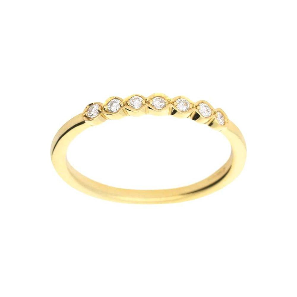 Rock Lobster Ring 18ct yellow gold seven stone diamond half eternity ring