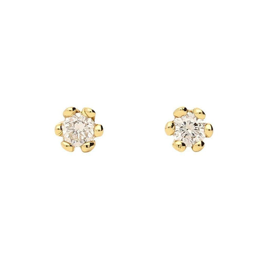 Rock Lobster Earrings 18ct yellow gold six claw diamond stud earrings