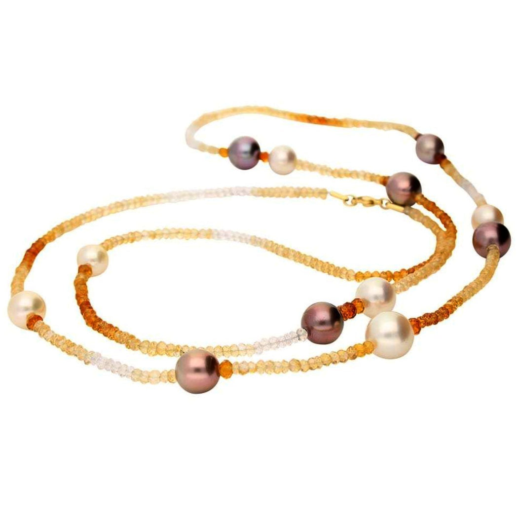 Rock Lobster Neckwear 18ct yellow gold southsea pearl and citrine necklace