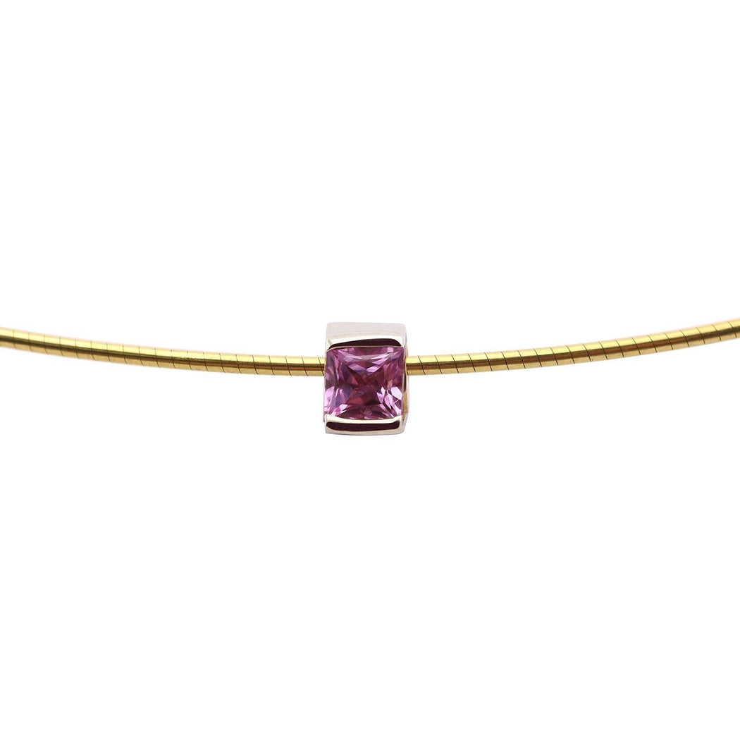 Rock Lobster Neckwear 9ct white and yellow gold pink sapphire neckwire