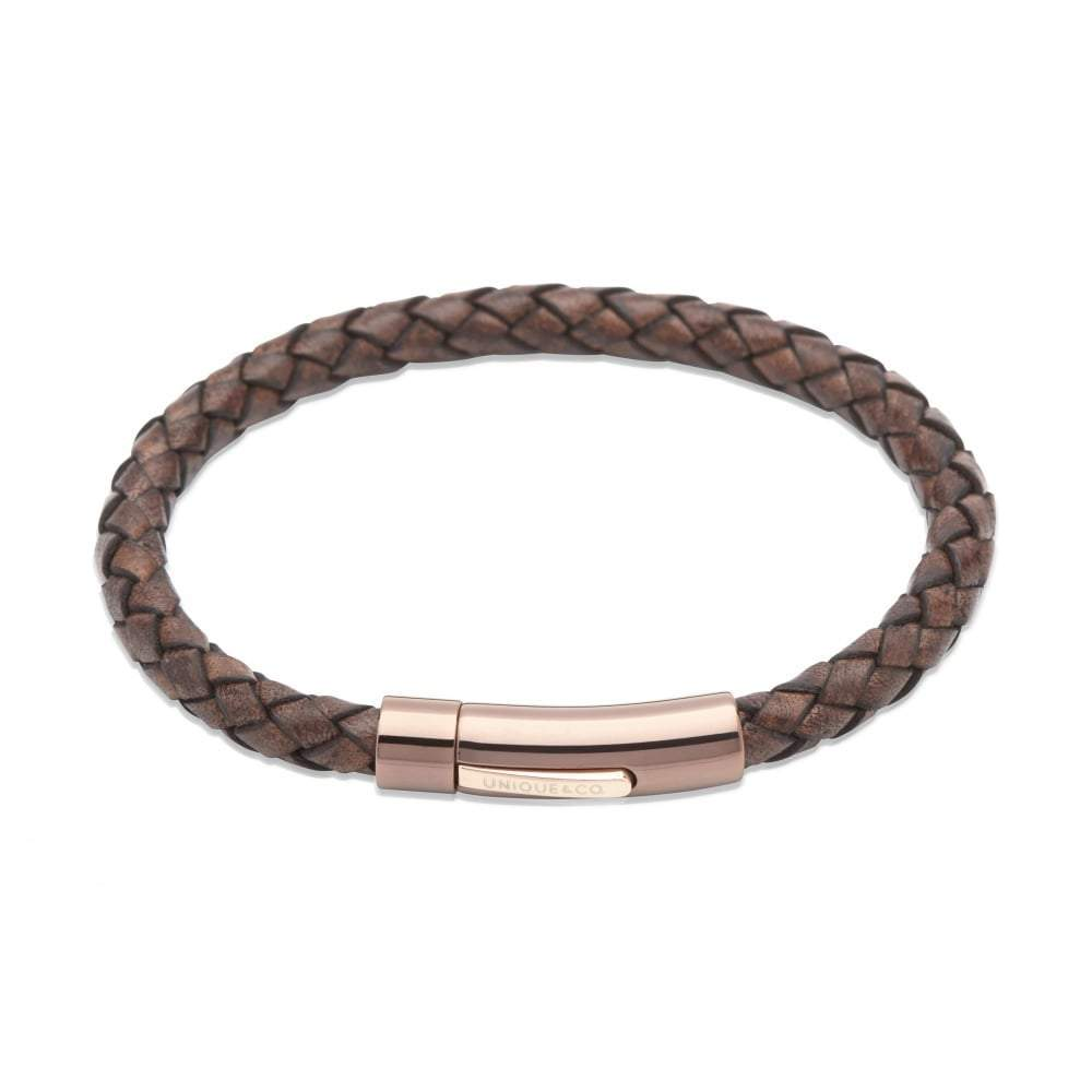 Rock Lobster Bracelet Antique brown plaited bracelet with rose gold steel clasp