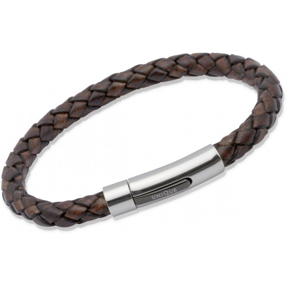 Rock Lobster Bracelet Antique brown plaited leather bracelet with steel clasp