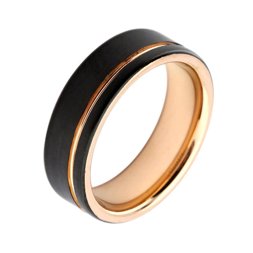 Rock Lobster Ring Black plated steel and rose gold grooved ring