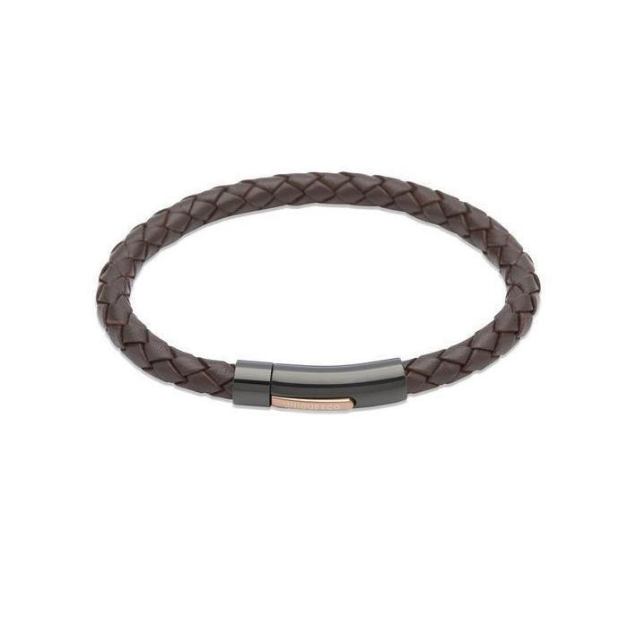 Rock Lobster Bracelet Black steel and Brown plaited leather bracelet