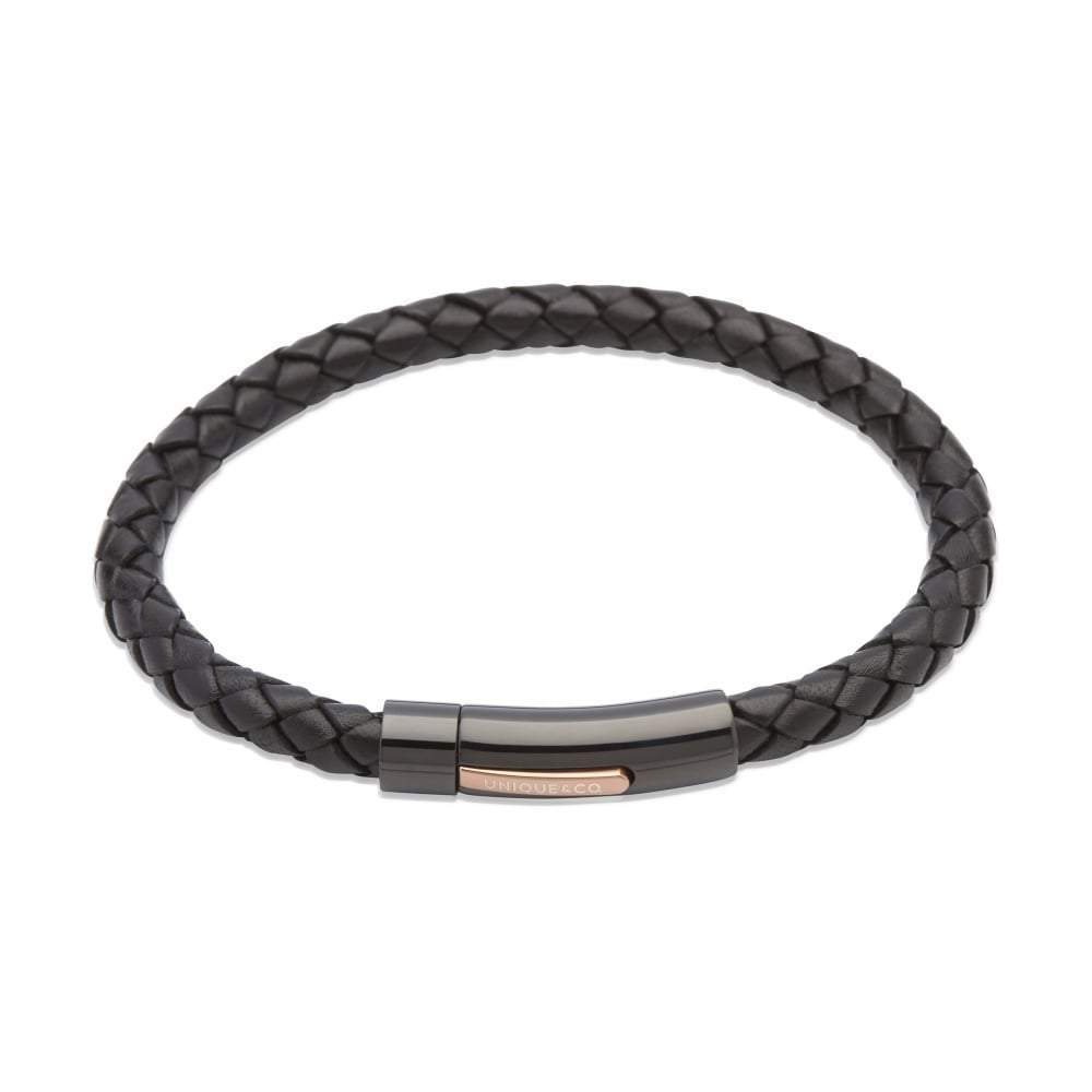 Rock Lobster Bracelet Black steel with rose gold detail leather plaited bracelet