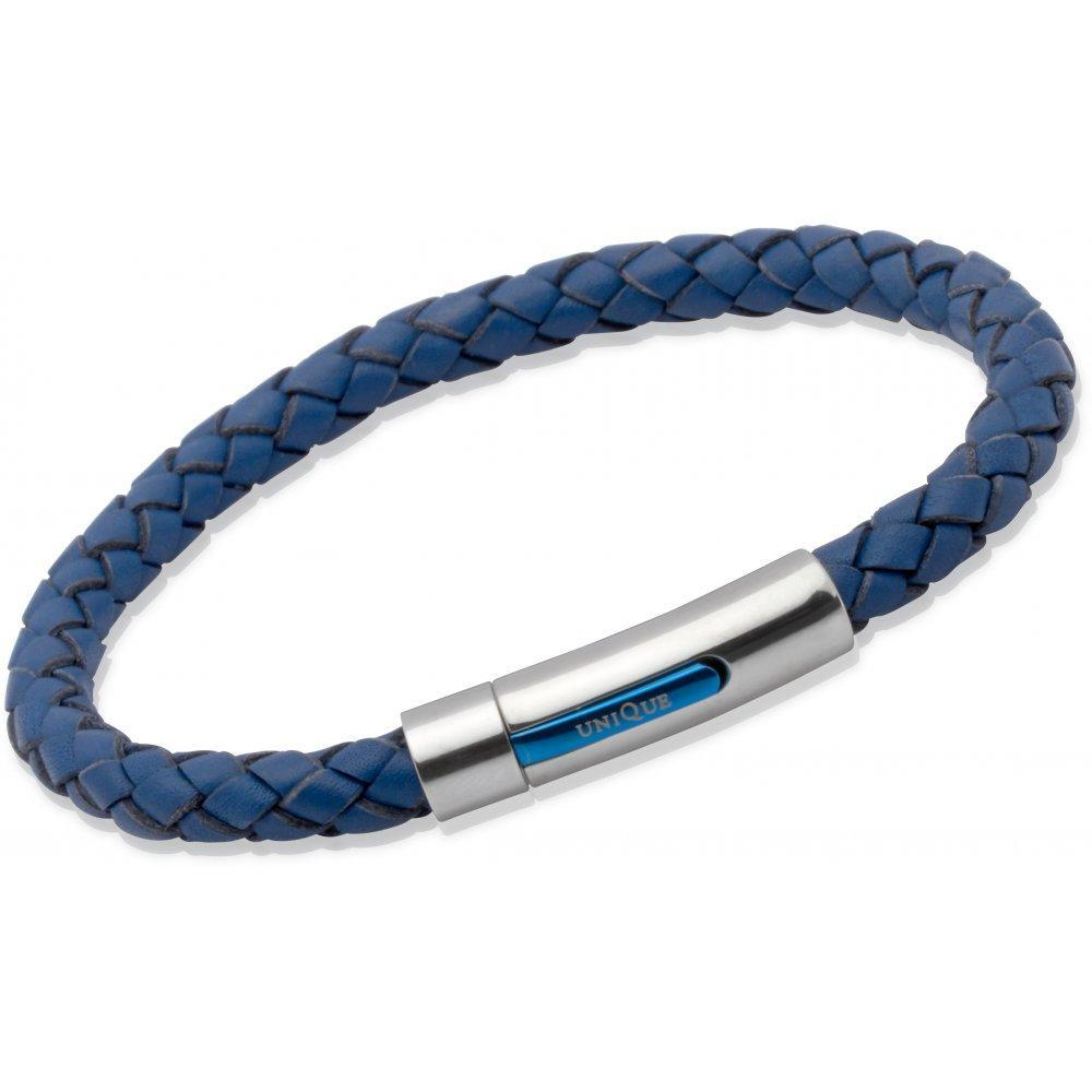 Rock Lobster Bracelet Blue plaited leather bracelet with steel claps