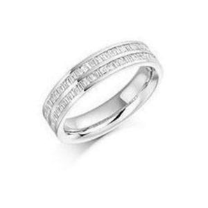 Rock Lobster Ring Diamond 0.55ct baguette cut half eternity ring