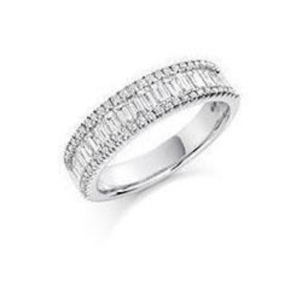Rock Lobster Ring Diamond 1.25ct mixed cut half eternity ring